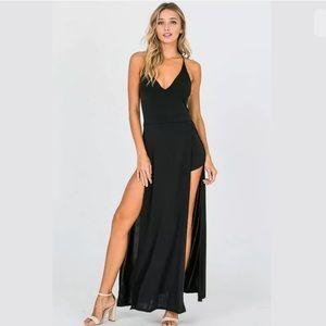 Dresses & Skirts - Juniors Sleeveless Double Slit Skort Dress